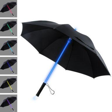 LED Lightsaber Light Up Black Clear Umbrella with 7 Color