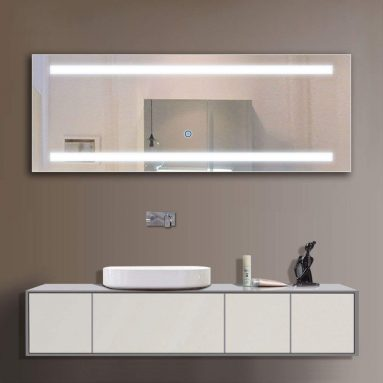 LED Wall Mounted Lighted Vanity Bathroom Silvered Mirror with Touch Button
