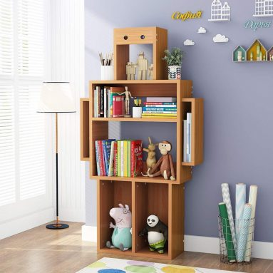 LITTLE TREE 4-Shelf Kids Bookshelf with Storage