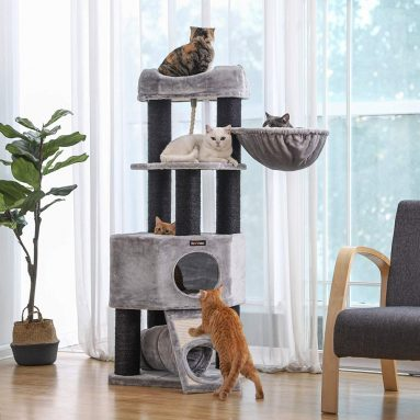 Large Cat Tower with Fluffy Plush Perch