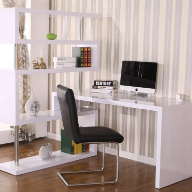 Large Corner Desk and Storage Shelf Rotating Home