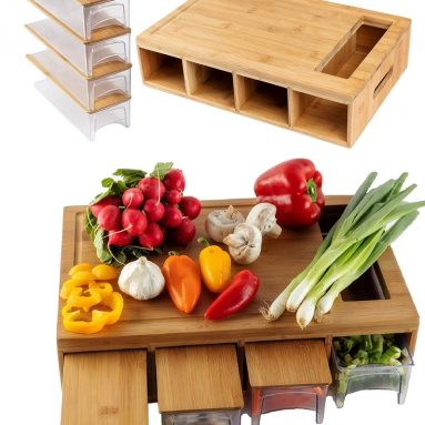 Large bamboo cutting board with trays