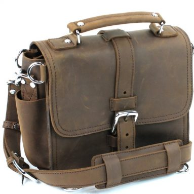 Leather Motorcycle Tote Camera iPad Bag