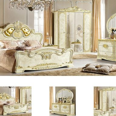 Leonardo Queen Size Bedroom Set in Ivory Lacquer Finish