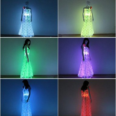 Light up Off Shoulder Long Maxi Dress Glow in The Dark