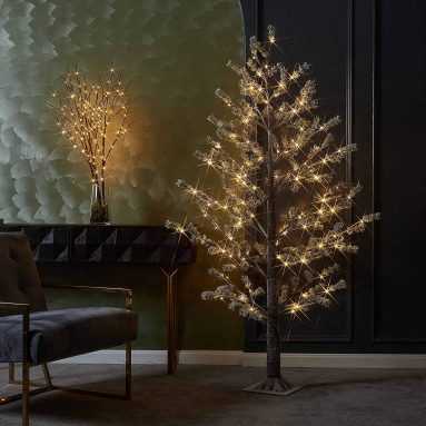 Lighted Pine Tree with Pliable Branches Snow
