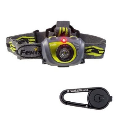 LED Headlamp-Green with Smith and Wesson LED Carabiner Clip Light