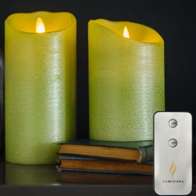 Luminara Set of 2 Moving Wick Flameless Candles with Remote