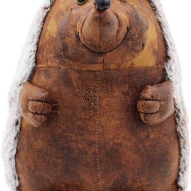 Luxury Faux Brown Leather Hedgehog Doorstop