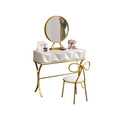 Makeup Table with Round Mirror and Makeup Organizers