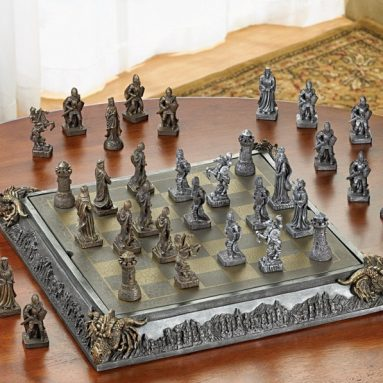 47% Discount: Medieval Knight Dragon Battle Carved Chess Game Set