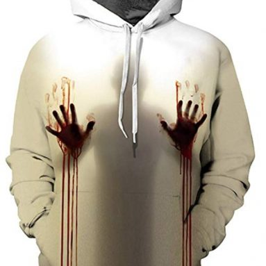 Men Halloween 3D Print Pullover Hoodie Thick Winter Sweatshirt with Kangaroo Pocket