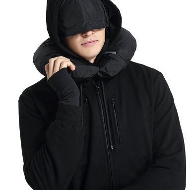 Men Travel Jacket Hoodie 10 Pockets Travel Pillow Eye Mask Face Mask Gloves