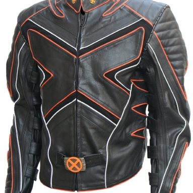 Men Wolverine Black and Orange Fashion Leather Jacket