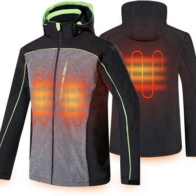Men's Heated Jacket Soft Shell Electric Jacket with Battery Pack and Detachable Hood