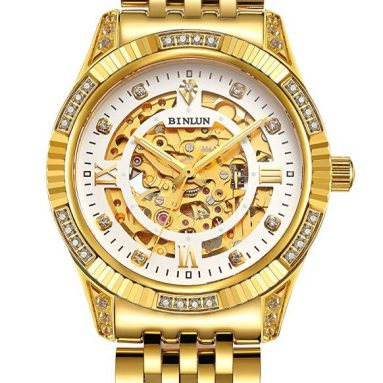 Men's Luxury 18K Gold Tone Stainless Steel Skeleton Automatic Turbillon Watch