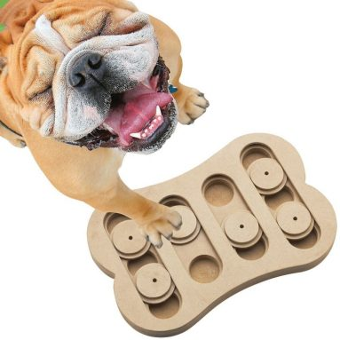 Mentally-stimulating wood puzzle for dog