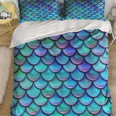 Mermaid Fish Scales Bedding Duvet Cover Set
