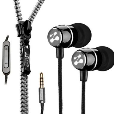 Noise-Isolating Metal Earbuds Tangle Free Zipper Cabling