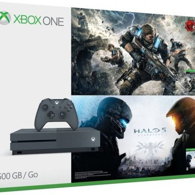 Microsoft Xbox One S 500GB Console – Gears of War & Halo Special Edition Bundle