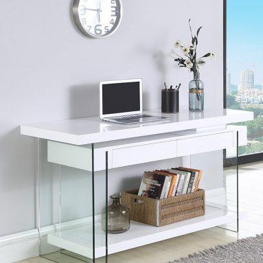 Milan Abbie White Motion Home Office Desk