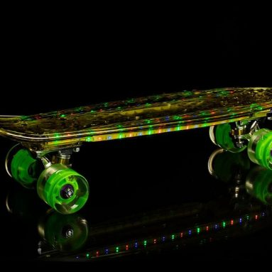Mini Retro Cruiser Skateboard – Blue Glow in the Dark