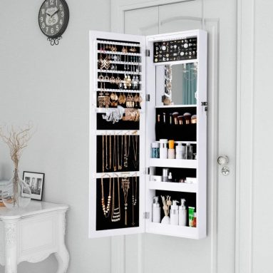Automatic LED Lights and Full-Length Mirror Wall Door Mounted Cabinet Organizer