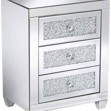 Mirrored Silver 3-Drawer Side Table