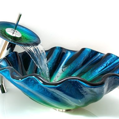 Glass Seashell Wave Vessel Sink&Waterfall Mixer Faucet