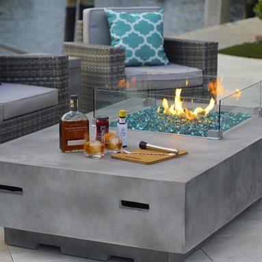 Modern Concrete Fire Pit Table