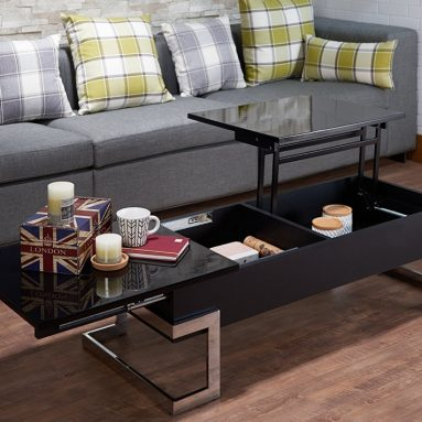 Modern Lift Top Coffee Table with Storage, Black & Chrome