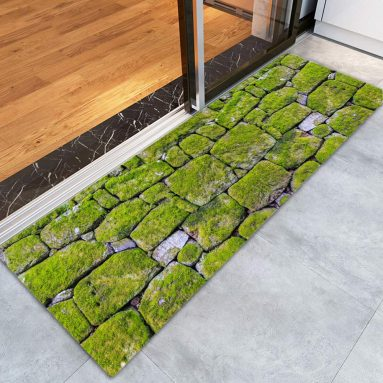 Moss Stone Pavement Print Memory Foam Bath Rugs