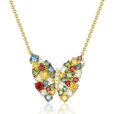 Multi Color Diamond Designer Butterfly Necklace