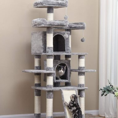 Multi-Level Cat Tree with Sisal-Covered Scratcher Slope, Scratching Posts