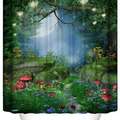 Mysterious Forest Mushroom Green Shower Curtain Waterproof