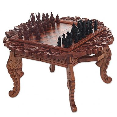NOVICA Ramayana Garland' Wood Chess Set