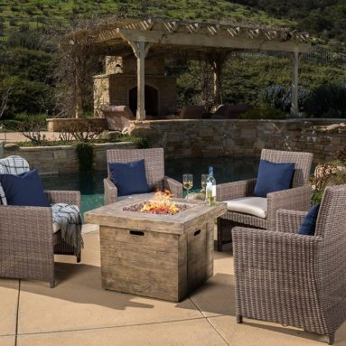 Napoule Dining Chair + Anchorage Brown Square MGO Fire Pit