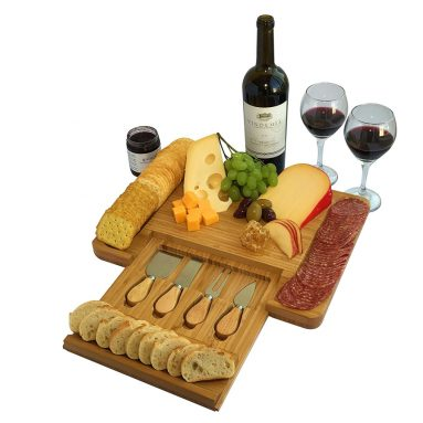 Natural Bamboo Cheese Board and Cutlery Set with Slide-out Drawer