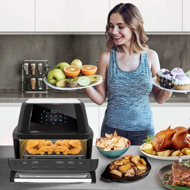 NutriChef Power Air Fryer Plus Food Dehydrator And Rotisserie Oven