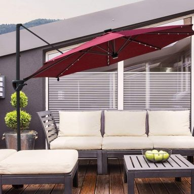 Offset Patio Umbrella with Solar Powered 32LED and Bluetooth Speaker