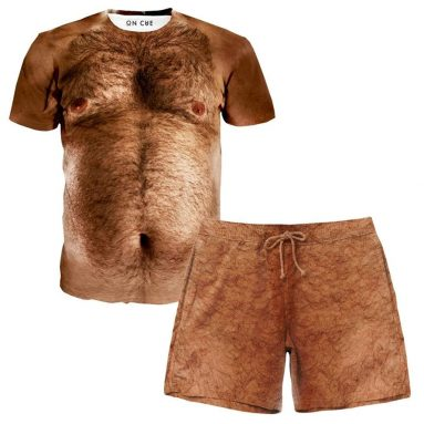 On Cue Apparel Hairy Chest T-Shirt Shorts Rave Outfit