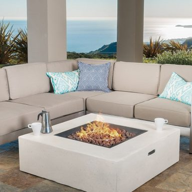 Outdoor Aluminum Framed Sectional Sofa Set with Light Grey Fire Table