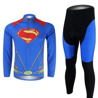 Outdoor Cycling Superman Sportwear Long Sleeve Jersey Set