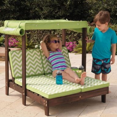 Outdoor Double Chaise Lounge Chair with Canopy