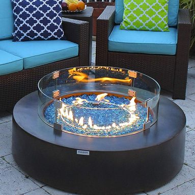Outdoor Essentials 42″ Round Modern Concrete Fire Pit Table