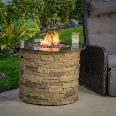 Outdoor Round Liquid Propane Fire Pit with Lava Rocks
