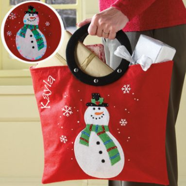 Personalized LED Snowman Tote