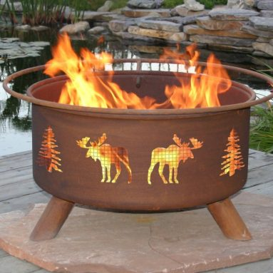 Patina Moose and Tree 31-Inch Fire Pit