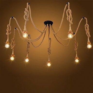 Pendant lights 8 Heads Country Retro Hemp Rope Hanging Lamp