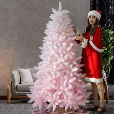 Pink Mixed White Hinged Xmas Tree Artificial